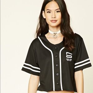 A cropped knit baseball jersey